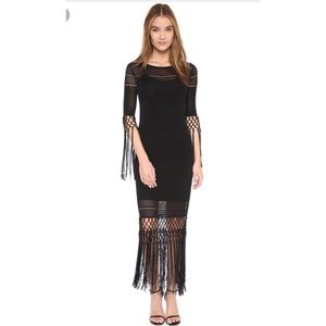 Rachel Zoe Dane Tassel Maxi Dress Black XS